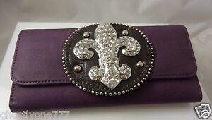 bling fleur di lys lis  purple clutch id credit card wallet