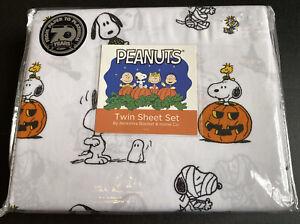 Berkshire Blanket Halloween Twin Sheet Set PEANUTS Charlie Brown Snoopy White