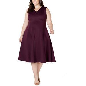 Calvin Klein Women's Dress Deep Plus A-Line V-Neck, Aubergine, 20W