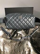 NWT CHANEL 2018 Waist Bag Belt Bum Fanny Pack WALLET GREY Calf Ruthenium TRAVEL