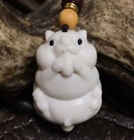 Deer Antler Carved Hamster Statue Netsuke Rat Figurine Decor