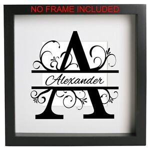 Name & Initial Monogram A to Z frame decal Vinyl sticker box  frame ribba