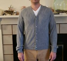 Vintage Mens LONDON FOG Cardigan Grandpa Sweater Size M Button Front Gray