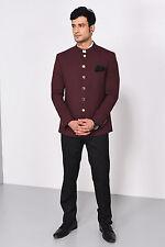 New Men Wedding Bespoke Wine Jodhpuri 3Pc Suit Mandarin Coat Pant Shirt FL100 $