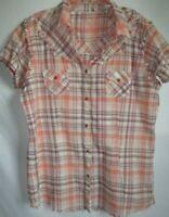 Twenty X Wrangler Women Sleeveless Shirt Snap Down Western Cowgirl Raw hem XL
