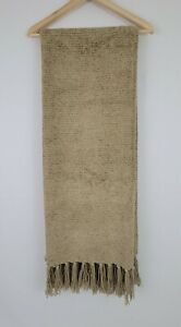 Pottery Barn Chenille Tan Champane Camel Color Fringed Throw Blanket 65x52