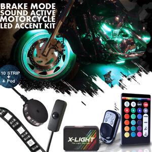 10 Strips + 4 Pod Neon Motorcycle Engine Wheel Underbody Bagger Light Kit - RGB