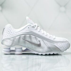 Nike Shox R4 White Metallic Silver Mens Running Shoes 104265-131 Retro OG Sz 8.5