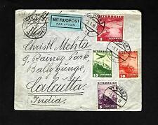 CV11 Air Mail Cover1936 Austria to Calcutta India Mit Flugpost label 4 postmarks