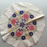 Vtg Hungarian Embroidered Pillow Case Front Matyo FLORAL Pattern Front Only