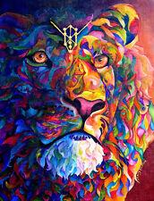 ROYAL COLORS Original 20x24 LION Art Painting on canvas Sherry Shipley