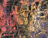 Modernist LARGE ABSTRACT PAINTING Expressionist MODERN ART RING TONES FOLTZ