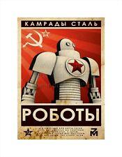 "Soviet Russian STYLE Propaganda Poster Canvas Print ROBOTS 10x14"""