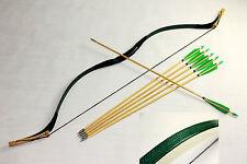 New Pretty Handmade Green Snakeskin 45lb Mongolian Longbow Recurve+6 wood arrows