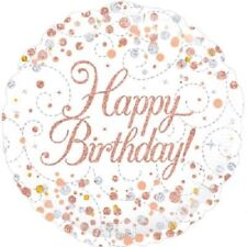 """Happy Birthday"" Sparkling Fizz Rose Gold White Round Shaped Foil Balloon."