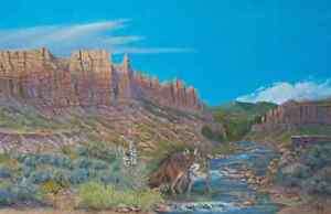 Jim Lang Thirsty Wolf Drinking From River Oil Painting on Canvas 24x36