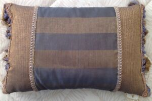 """Waterford Fringed Rectangle Pillow Blue & Gold 17"""" L x 10"""" W GUC"""