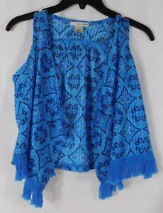 Very Cute Girl's Self Esteem Size Medium Blue Sleeveless Vest with Fringe ~ EUC!