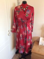 M&S Limited Collection Red Oriental Lace Up Floral silky Dress - 12 - BNWT  £45