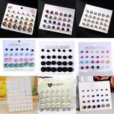 Fashion Crystal Pearl Round Men's Womens Unisex Ear Stud Earrings Set Jewellery