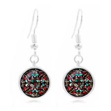 1 pair Tibet Silver Dome Photo Art 16Mm Glass Cabochon Long Earrings~154