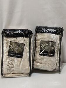 J. Queen Euro Shams 2 PACK Cream Dream Natural Embroidered Velvet New 1239