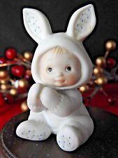 Enesco Ruth Morehead Holly Babes 1984 Girl Bunny Sitting Figurine #40