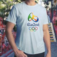 Rio 2016 Olympics Logo Brazil Olympic Games Mens Unisex Crew Neck Tee T-Shirt