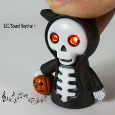 Halloween Decor Party Favor Skull LED Torch Scary Sound Keyring Chain Toy Gifts