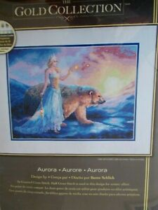 """Cross stitch Kit The Gold Collection """" Aurora """" New by Dimensions"""