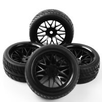 4Pcs RC 1:10 Rubber Tire WheelRims Flat Racing 12mm Hex Set For HSPOn Road Car