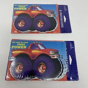 16 Gibson Monster Truck Power Party Invitations Child Boy Girl Birthday Fun