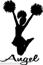 Cheerleader with Personalized Name vinyl decal/sticker sports pompoms