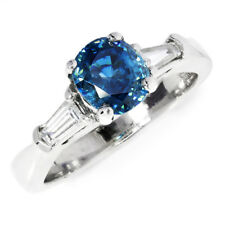 Blue Zircon 3 Stone Ring with Tapered Baguette's 14K White Gold 1.60ctw
