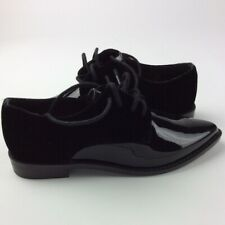 New Gianni Bini Womens Black Faux Patent Leather Velvet Lace Up Oxford Size 6