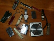 Vintage Grandpa Junk Drawer, Sony, Pocket Knives. Lighters, Watch , .99auction