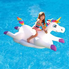 Unicorn Pool Float Inflatable Ride On Rainbow Colorful Kid Summer Fun Pony Size