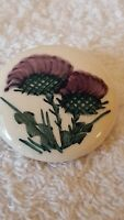 Vintage ceramic Scottish Thistle Broach. With a vintage presentation tin