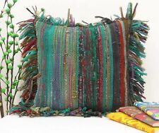 COTTON HANDMADE INDIAN RUG RAG VINTAGE PILLOW CHINDI GREEN CUSHION COVER 16X16""