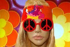 A165✪ 70er Jahre Peace Zeichen Woodstock Retro Sonnenbrille Hippie orangerot