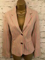 Boden Ladies Stone & Pink Candy Stripe Cotton Blazer Jacket  UK 12 EU 40  US 8