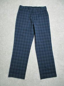 Nike Golf Pants Mens 34x32 Blue Plaid Dri Fit Straight Flat Front Polyester