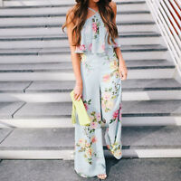 Women Floral Printed Halter Neck Summer Boho Floucing Wide Leg Jumpsuit Pants