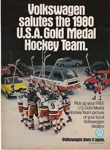 1980 U.S.A. GOLD MEDAL HOCKEY TEAM IN A VOLKSWAGEN AD