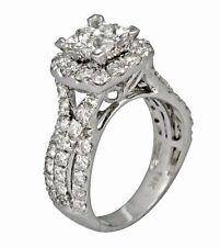 2.65ct Princess Round Cut Prong Invisible Set Wedding Ring 14K White Gold