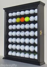 49 Golf Ball Display Case Rack Cabinet with Glass Door, Solid Wood, GB49-BLA