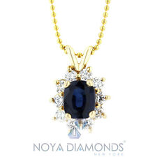 1.65 CT NATURAL DIAMOND AND BLUE SAPPHIRE PENDANT 14K YELLOW GOLD