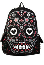 Banned Sugar Skull Gothic Emo Punk Backpack Rucksack School Bag Pink Waterproof