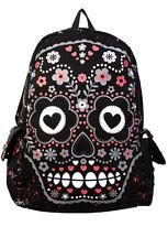 Sugar Skull Mochila prohibido Mochila Escolar A4 Bolsa Rock Punk Emo Goth Negro Rosa