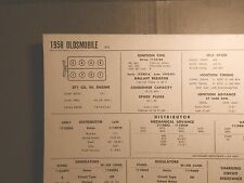 1958 Oldsmobile 371 CI V8 SUN Electric Tune Up Chart Excellent Condition!